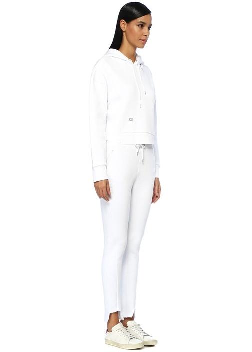 North Beyaz Kapüşonlu Kesik Detaylı Sweatshirt