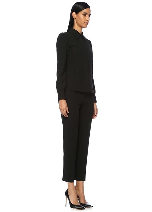 Siyah Vatkalı Gizli Düğmeli Blazer Ceket