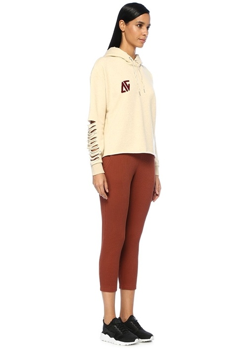 Cool Today Ekru Kapüşonlu Kol Detaylı Sweatshirt