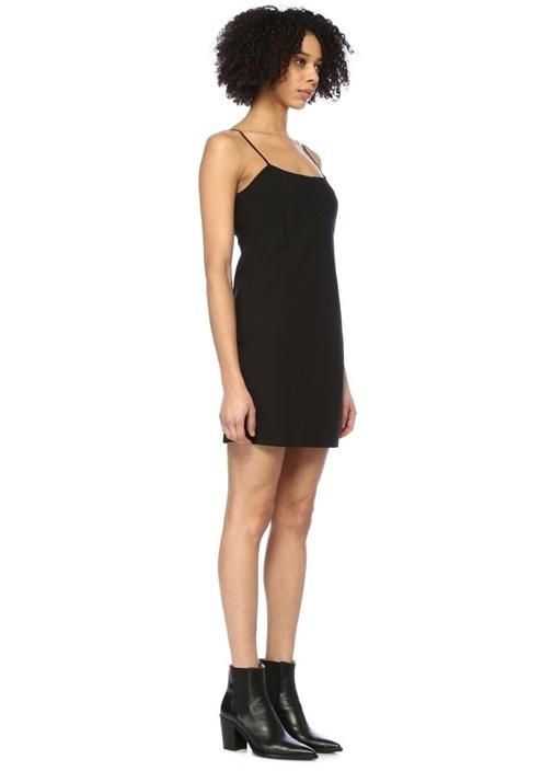 Siyah İnce Askılı Mini Yün Elbise