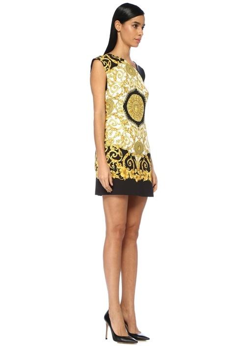Gold Siyah Asimetrik Yaka Kolsuz Mini Krep Elbise