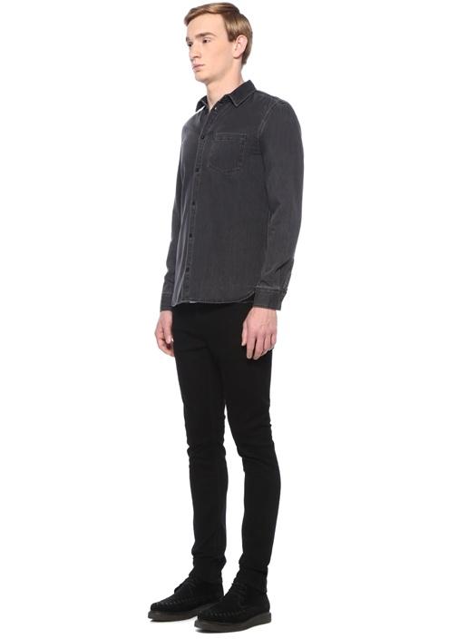 Siyah Polo Yaka Cepli Denim Gömlek