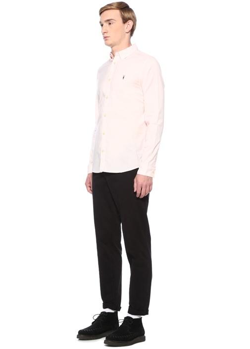 Fulier Pembe Polo Yaka Çizgili Gömlek