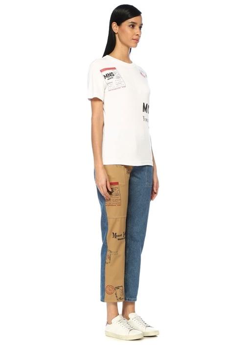 Half And Half Yüksek Bel Kanvas Jean Pantolon