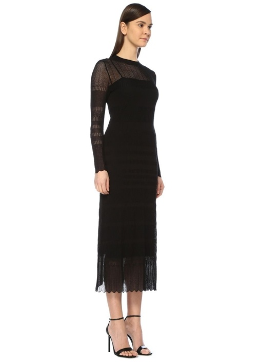 Siyah Dantel Örgü Uzun Kol Midi Triko Elbise