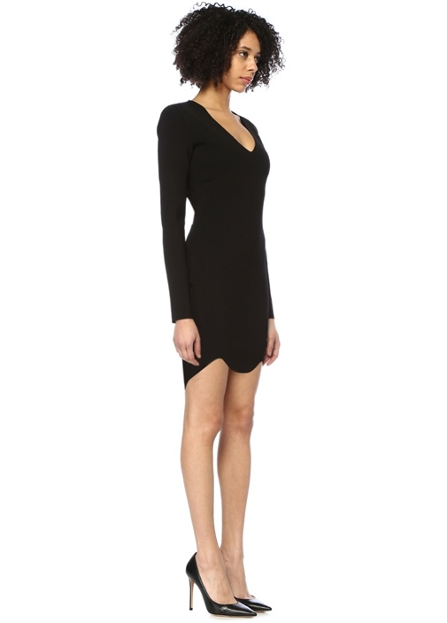 Siyah V Yaka Uzun Kol Mini Triko Elbise