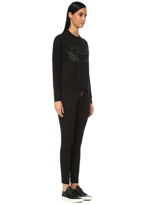 24 7 Star Siyah Logo Baskılı Sweatshirt