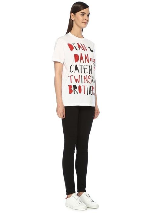 Beyaz Yazı Baskılı Oversize T-shirt