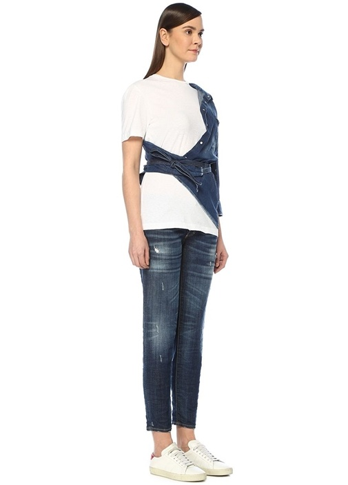 Beyaz T-shirt Detaylı Asimetrik Denim Gömlek