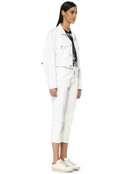 Dennis Beyaz Yüksek Bel Crop Jean Pantolon