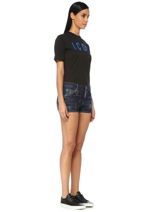 Blu Cadet Cool Girl Yıpratmalı Logolu Jean Şort