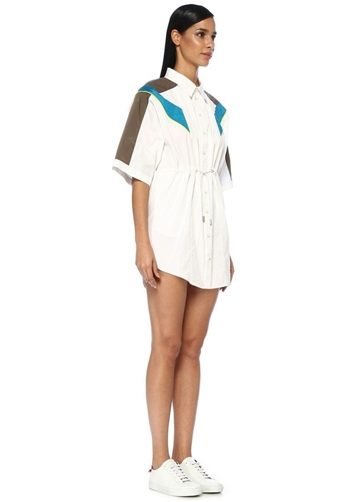 Beyaz Neon Şeritli Büzgülü Mini Gömlek Elbise
