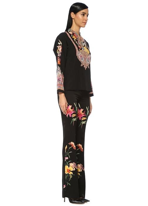 Siyah Kaftan Yaka Etnik Desenli Uzun Kol İpek Bluz
