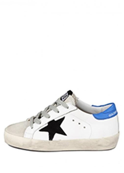 Super Star Beyaz Mavi Erkek Çocuk Deri Sneaker