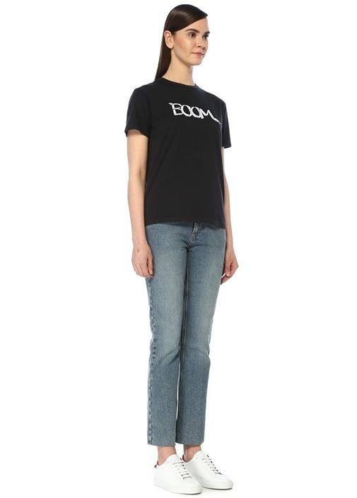 Boom Siyah Baskılı Basic T-shirt