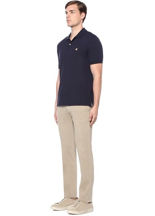 Slim Fit Lacivert Polo Yaka Logo Nakışlı T-shirt