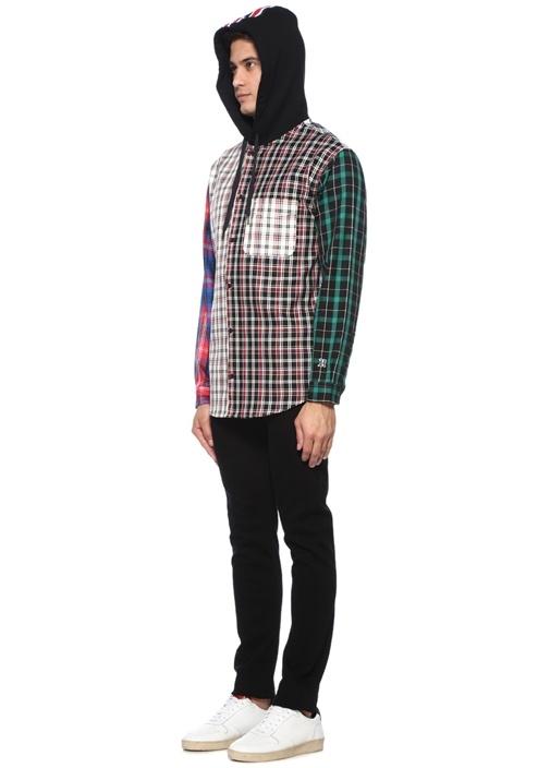 Siyah Kapüşonlu Ekose Desenli Gömlek