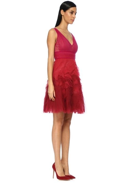 Fuşya V Yaka Drapeli Mini Tül Kokteyl Elbise