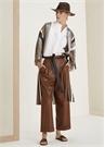 Çizgili Beli Kuşaklı Düşük Kol İpek Saten Ceket
