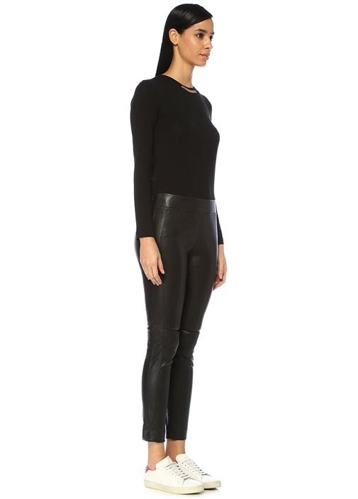 Siyah Normal Bel Dar Paça Streç Deri Pantolon