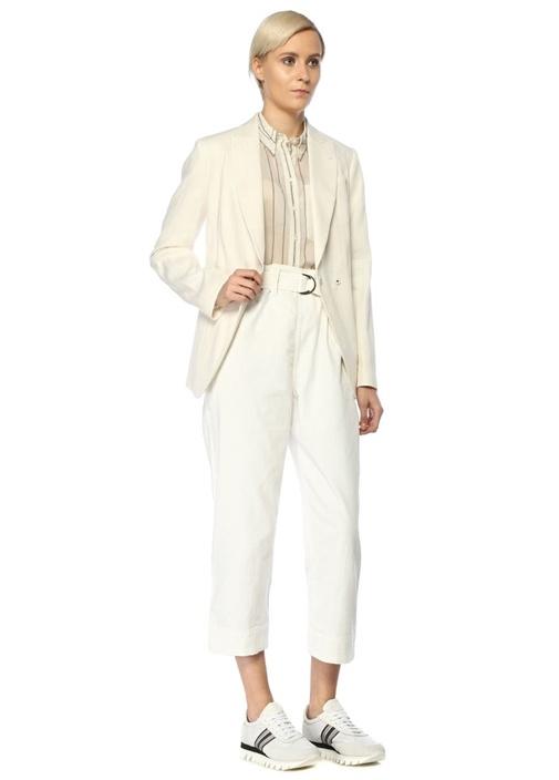 Beyaz Yüksek Bel Kemerli Crop Jean Pantolon