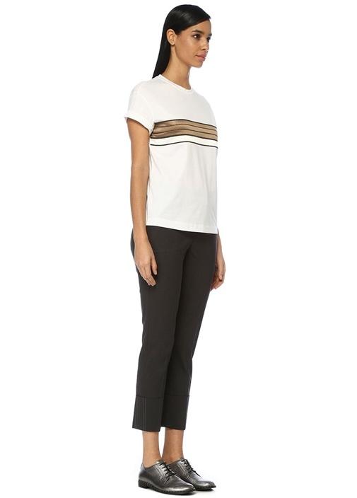 Beyaz Bronz Saten Garnili Zincir Şeritli T-shirt