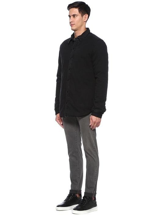 Siyah İngiliz Yaka Dış Gömlek
