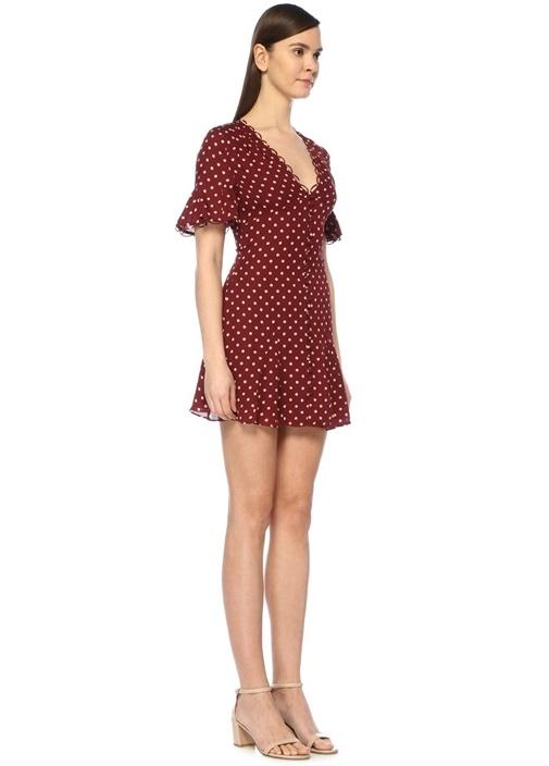 Bordo V Yaka Puanlı Önü Düğmeli Mini İpek Elbise