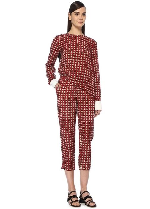 Kırmızı Deniz Kabuğu Desenli Crop Pantolon