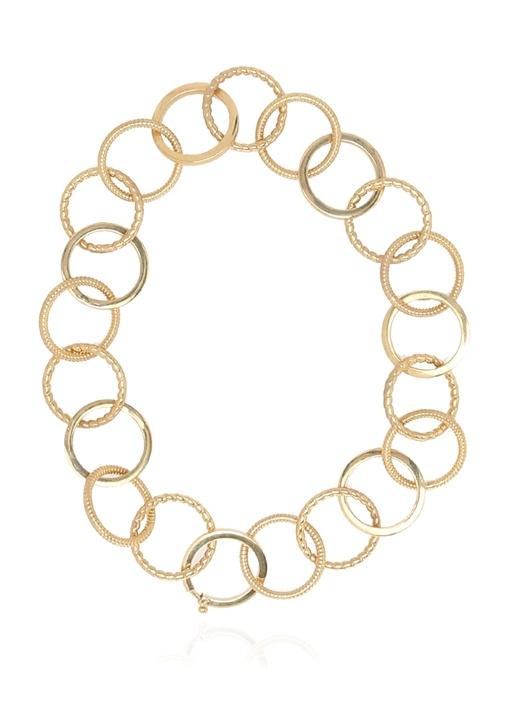 Gold Halka Formlu Kadın Gümüş Kolye