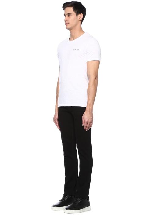 Player Beyaz Bisiklet Yaka Jakarlı Basic T-shirt