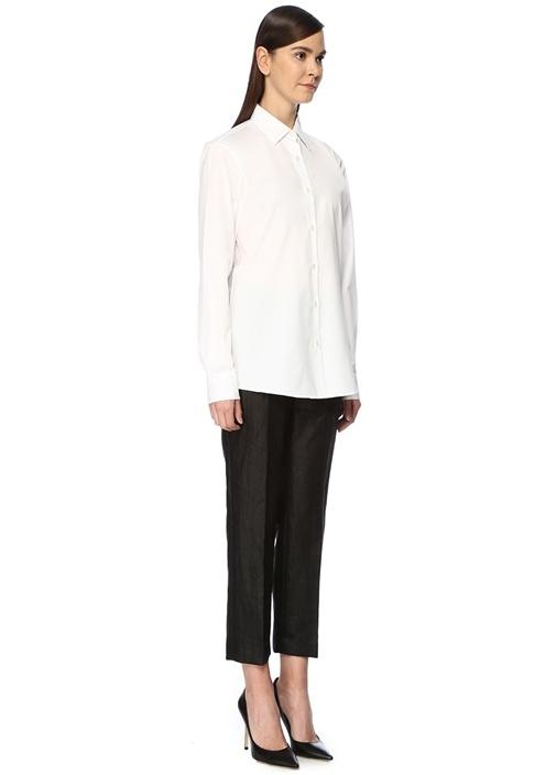 Clavelly Beyaz Sivri Yaka Klasik Gömlek