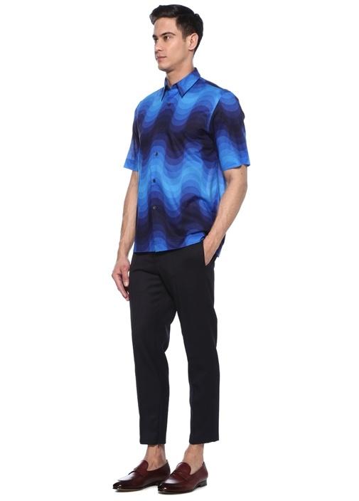 Lacivert İngiliz Yaka Batik Desenli Gömlek