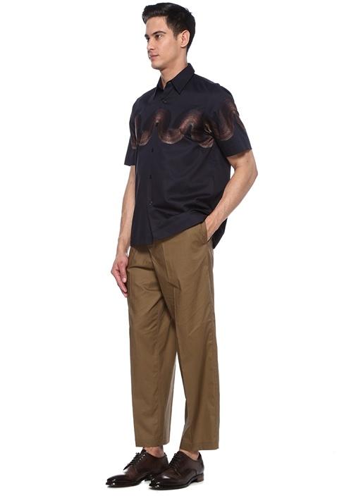 Lacivert Dalga Nakışlı İngiliz Yaka Gömlek