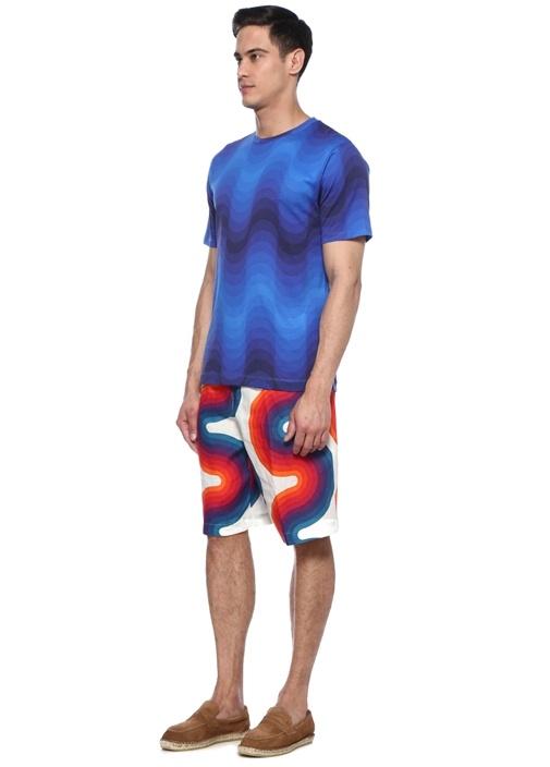 Lacivert Desenli T-shirt