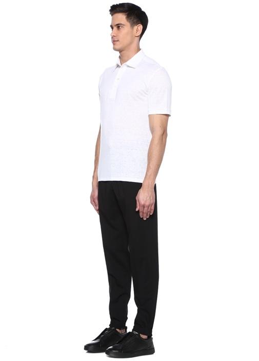 Beyaz Polo Yaka Keten T-shirt