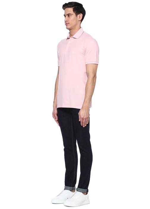 Pembe Polo Yaka Doku Detaylı T-shirt
