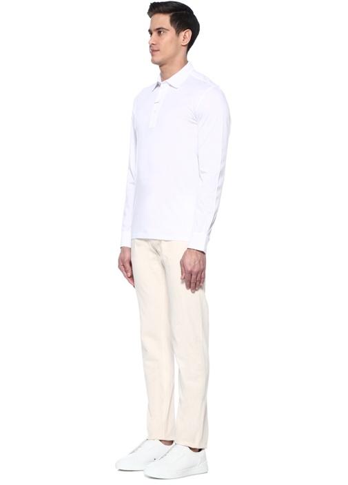 Beyaz Polo Yaka Sweatshirt