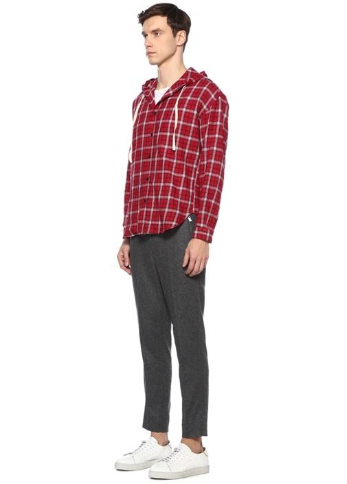 Oversized Fit Kırmızı Kapüşonlu EkoseliGömlek