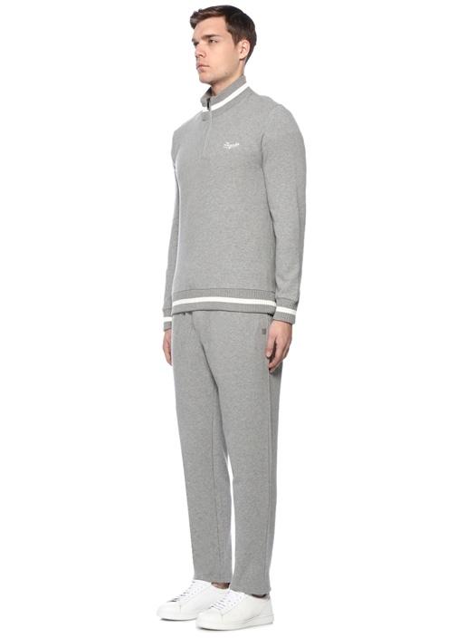 Half Gri Yakası Fermuarlı Sweatshirt