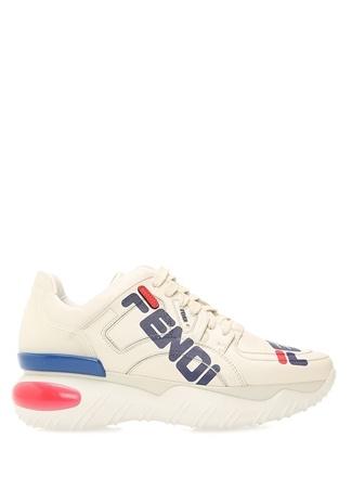 Fendi Kadın Mania Beyaz Logo Baskılı Deri Sneaker Bej 40 EU