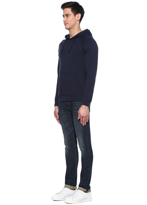 Lacivert Kapüşonlu Sweatshirt