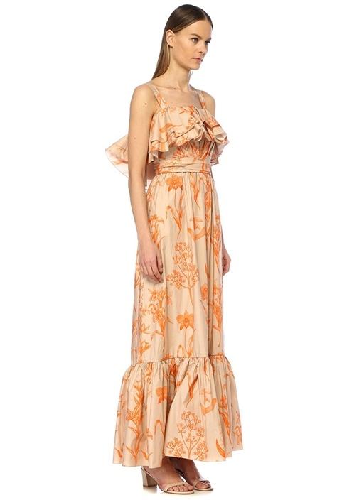 Kamel Turuncu Desenli Fırfır Detaylı Maxi Elbise