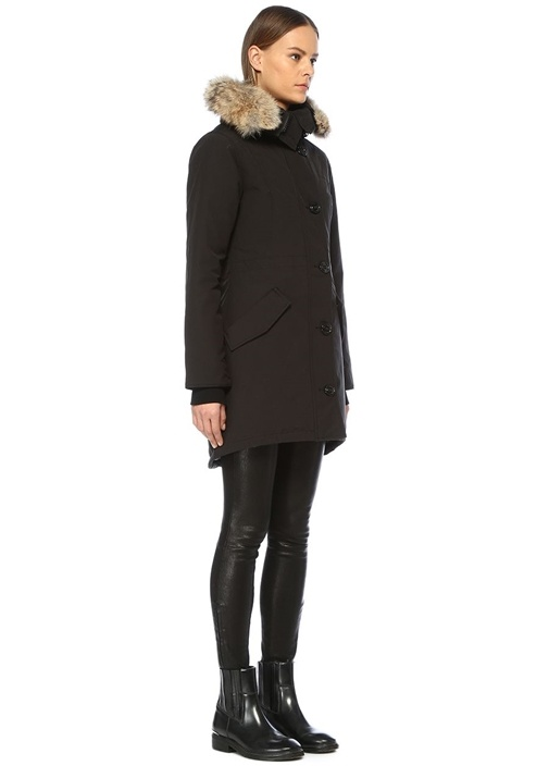 Rossclair Siyah Kapüşonlu Palto