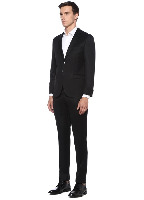 Drop 4 Siyah Kelebek Yaka Yün Takım Elbise