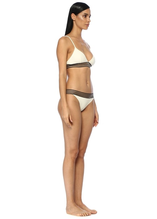 Ines Ekru Transparan Şeritli Üçgen Bikini Üstü