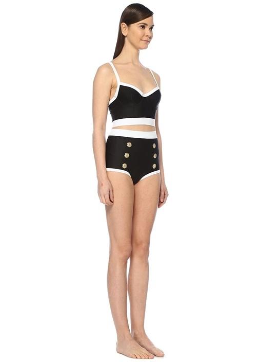 Siyah Beyaz Arkası Düğmeli Bikini Üstü