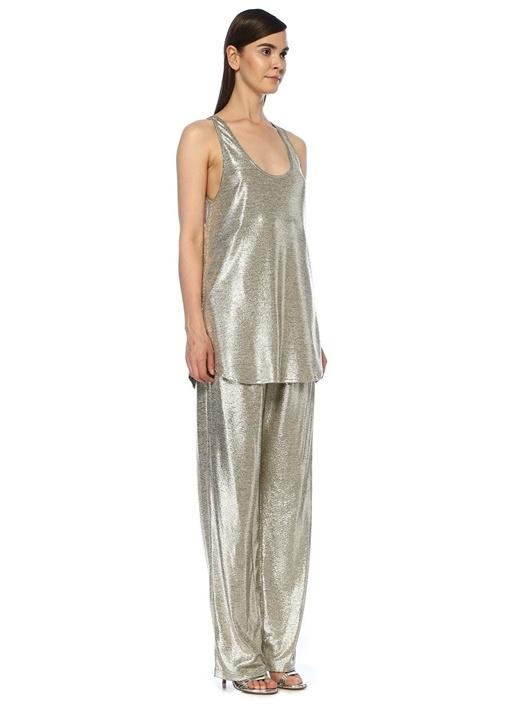 Silver U Yaka Uzun Kolsuz Bluz