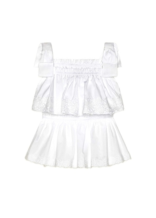 Beyaz Fisto Detaylı Kare Yaka Bluz