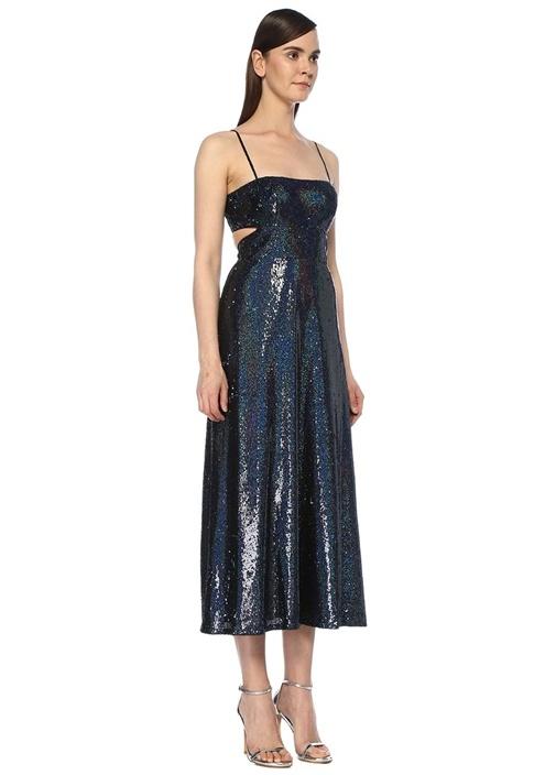 Jemma Lacivert İşlemeli Midi Kokteyl Elbise